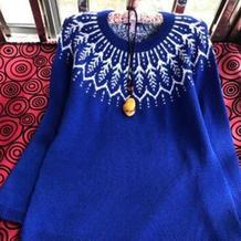 叶儿 从领口往下织女士棒针费尔岛提花毛衣