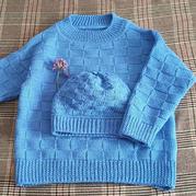 儿童棒针棋盘格套头毛衣与帽子