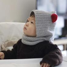 儿童创意钩针小怪兽连围脖帽子