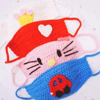 创意编织可爱卡通钩针口罩编织视频教程