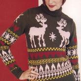 爱心几何图案与驯鹿 圣诞主题棒针毛衣图案