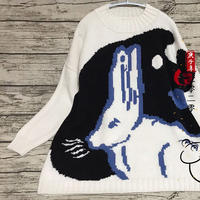 女士棒针大白兔奶糖图案套头毛衣