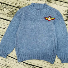 雾蓝 男童棒针圆领套头毛衣