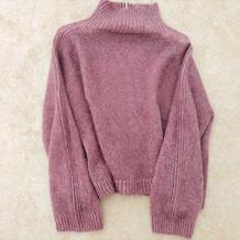 白兰鸽 从上往下织宽松休闲女士棒针真丝马海毛衣