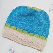儿童棒针贝壳花拼色帽子
