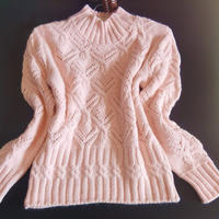 粉樱 粉色貂绒女士棒针Y形花样套头毛衣