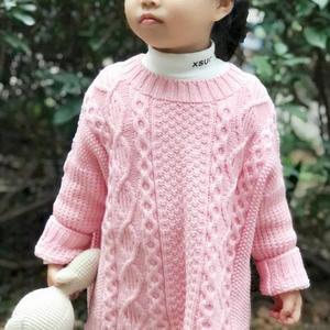青梅 萌芽儿童棒针阿兰花样套头毛衣