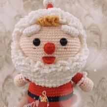 四股牛奶棉编织萌可爱钩针圣诞老人玩偶图解