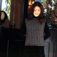 优雅休闲横织双色线女士棒针无袖套衫