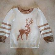 小鹿来了 云棉儿童棒针驯鹿图案套头毛衣