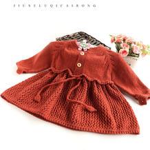 小公主(3-1)儿童棒针领开扣蝴蝶结裙式毛衣编织视频