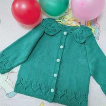 湖绿色儿童棒针花边领开衫