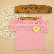 半糖 嗲嗲的横织女童棒针短袖系绳罩衫