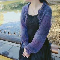 初秋 女士钩织结合一片式泡袖披肩