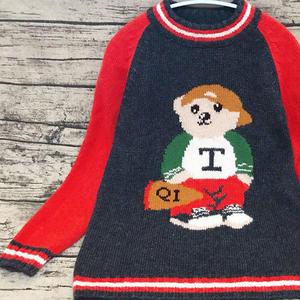 前后都有图案的儿童棒针小熊图案套头毛衣