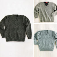 3款经典男士V领套头毛衣编织图解