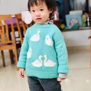 小小鹅 成人款改版儿童棒针动物图案套头毛衣