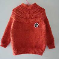 橘色安加 从领口往下织儿童棒针圆肩毛衣(附织衣小技巧)