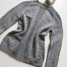 女士棒针灰色羊毛插肩套头毛衣