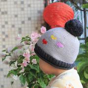极简单的爱心图案棒针男童帽子