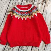 圣诞花环 儿童棒针提花毛衣