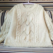 云藤 有立体感的叶子麻花女士棒针直编袖套头毛衣
