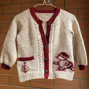 滑雪趣 儿童棒针绣花冷冷图案插肩开衫