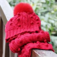 苒若 经典棒针豆豆花样毛球帽子与围巾