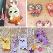 创意钩编各式可爱小物(兔子胸针、动物卡包、书签等)