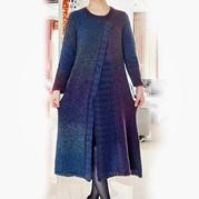 段染女士钩织结合中长款开衫