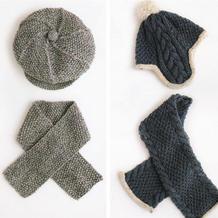好织百搭儿童棒针桂花针报童帽护耳帽与围巾