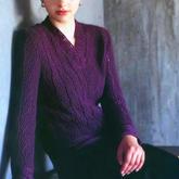 经典青海波纹女士棒针蕾丝花边V领毛衣