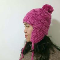 暖帽 驼绒小方格花样棒针护耳帽