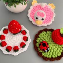 手机支架草莓款(3-2)创意毛线编织台饰小物编织视频
