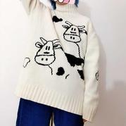 奶萌奶萌的女士棒针奶牛图案套头毛衣
