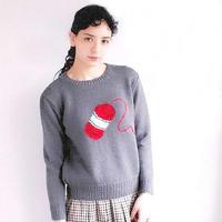 毛线团图案女士棒针嵌花套头毛衣 编织主题毛衣