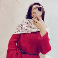 小雪 云绒叁柒女士钩针菠萝花围巾