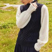 仿潘家女士棒针假两件套头毛衣