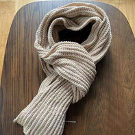 花样简单的棒针罗纹围巾 没有上针