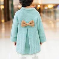法式风情蝴蝶结大衣(2-1)儿童毛衣钩针编织视频教程