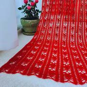 千千红 女士钩针菠萝花样长款围巾