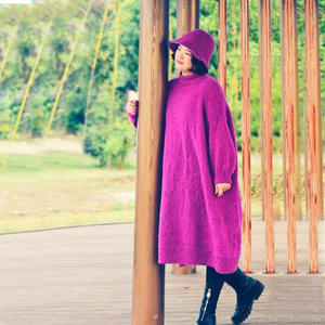 浓浓 羊毛圈圈女士棒针简约长袍