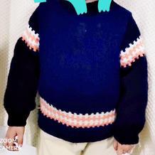 三岁半小男孩简约棒针提花毛衣