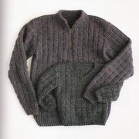 经典棒针竹节花样亲子毛衣(男士拉链领及儿童V领套头毛衣)
