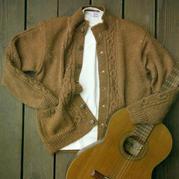 粗针织男士棒针夹克衫式羊毛开衫