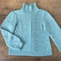 不对称志田 从下往上圈织扭针镂空花女士棒针毛衣