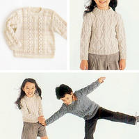男孩女孩都适合的儿童棒针扭花圆领毛衣2款(100cm~120cm)