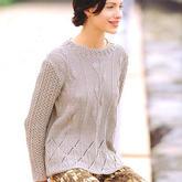 女士棒针简约叶子枝条花样套头毛衣
