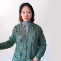 迎春女士棒针长袖圆领开衫 给婆婆织的开衫