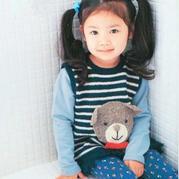 小熊花样儿童棒针肩开扣条纹背心(100cm~120cm)